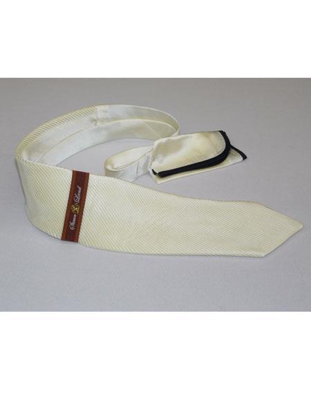 Steven Land Men's Formal Cream Silk Pleated Tie