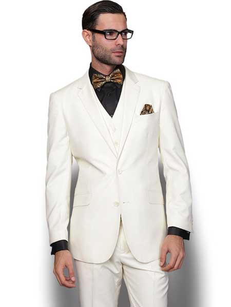 Mens 3 Piece Italian Wool Slim Fit Single Breasted Cream Vested Suit (Buy Wholesale 10PC&UP of this for $90)