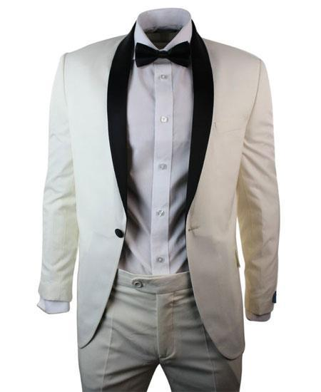 Men's 1 Button Cream ~ Ivory Black Shawl Collar 3 Piece Dinner Suit