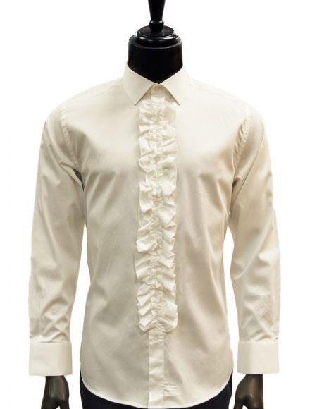 buy sale buy best hot-selling discount Men's classic Cream/Ivory Ruffled Dress 100% Cotton casual Trendy tuxedo  shirt