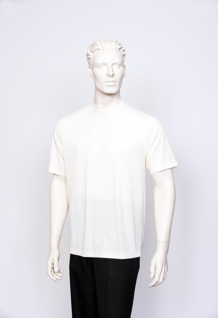 Carla Men's T-Shirt Ribbed Short Sleeve Sweater Cream