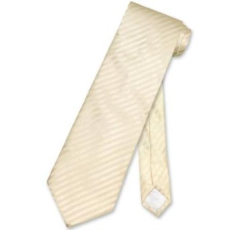 Buy VN3970 Egg Yolk Cream Striped Vertical Stripes Men's Neck Tie