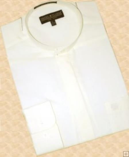 MensUSA.com Cream Ivory Banded Collar Cotton Blend Dress Shirt(Exchange only policy) at Sears.com