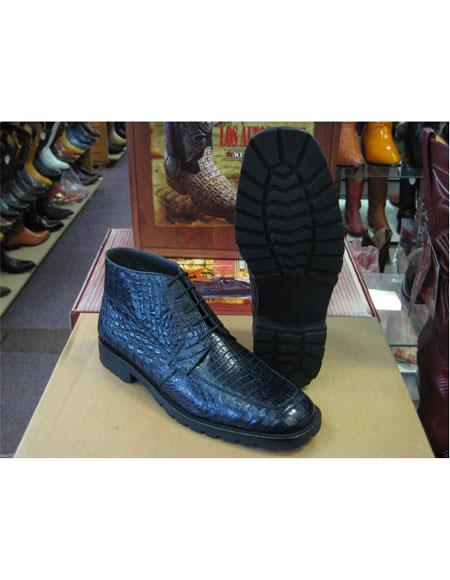Los Altos Mens Genuine All Crocodile Caiman Navy Ankle Boot