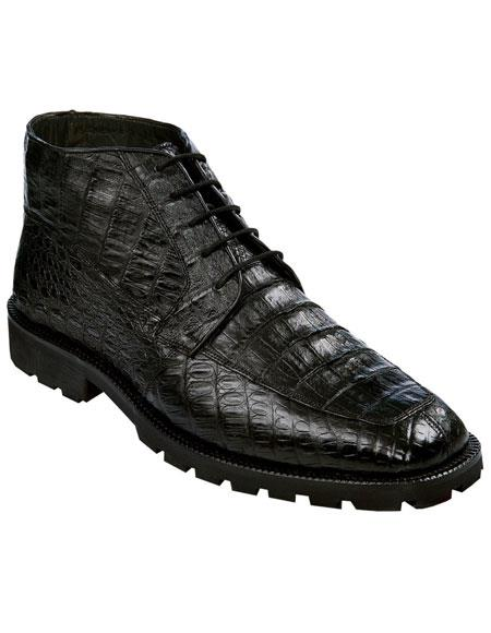 Los Altos Mens Genuine All Crocodile Caiman Black Ankle Leather Sole Boot