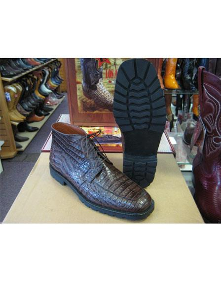 Los Altos Mens Genuine All Crocodile Caiman Brown Lace Up Ankle Boot