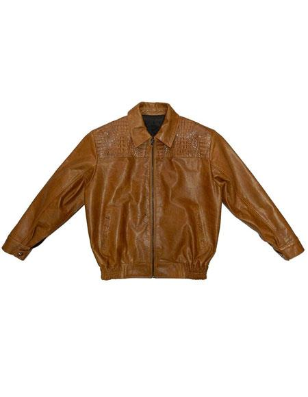 SKU#AP610 G-Gator - 2055 Crocodile/Calf Skin Brown Zipper Closure Leather Jacket