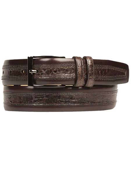 Mezlan Brand Mens Genuine Crocodile / Calfskin Brown Skin Belt