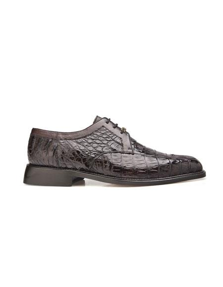 Men's Genuine Crocodile Lace Up Brown Leather Dress Shoes