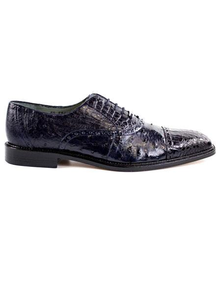 Men's Genuine Crocodile/Ostrich Lace Up Navy Hand-Crafted Dress Shoes