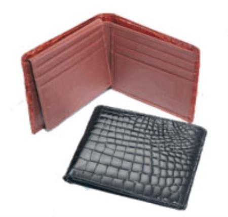 Mens Genuine Exotic Animal Skin Crocodile Billfold Black,Cognac,Chocolate