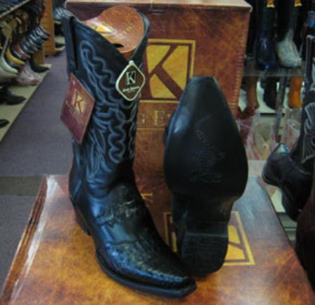 Buy MK960 Mens Genunie Crocodile King Exotic Snip Toe Western Cowboy Black Boot