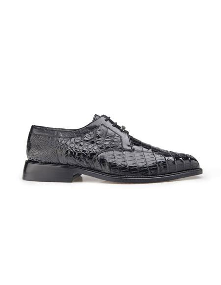 Mens Hand-Crafted Genuine Crocodile Lace Up Black Dress Shoes