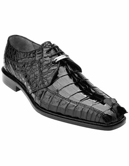 Authentic Genuine Skin Italian Men's Genuine Hornback Crocodile Black Laceup Style Shoes