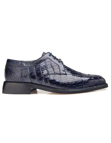 Mens Genuine Crocodile Lace Up Navy Dress Shoes