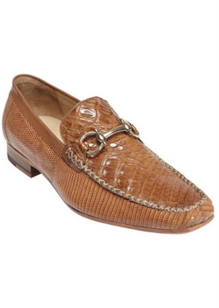 belvedere mens saddle crocodile top stitched loafers