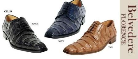 Belvedere Crocodile Cello Lace-up Dress Shoe Comes in Tan / Black / Blue $379