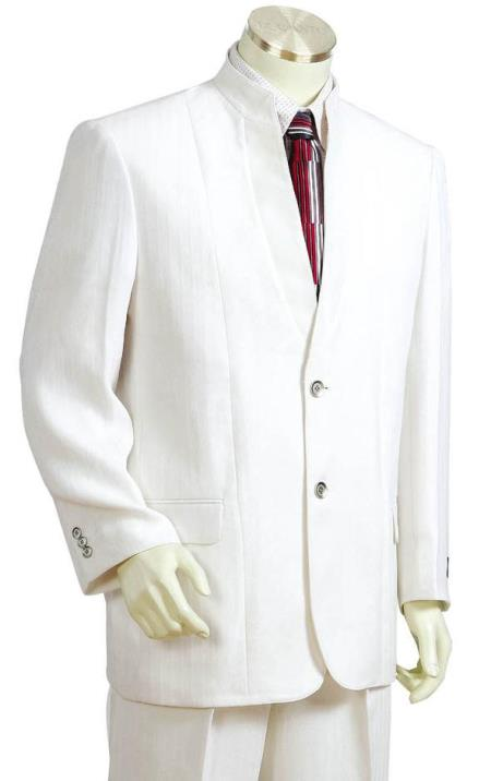 Men's Button Fastener Mandarin Collar Cross Stripe White Zoot Suit