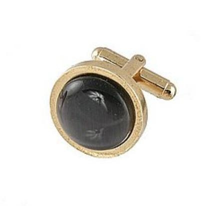 SKU#RS190 Cufflinks Gold My 0025G Black $39