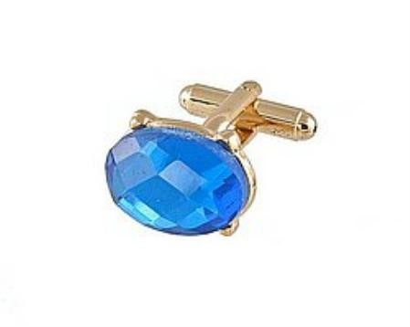 SKU#WP440 Cufflinks Gold Vs 021 G turquoise ~ Light Blue Colored $39