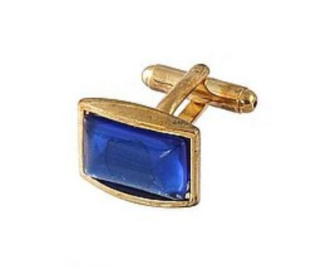 SKU#CN345 Cufflinks Gold Xk 0111G R.Blue $39