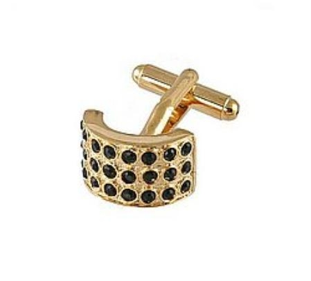 SKU#LK810 Cufflinks Gold Xk 0026G Black $39