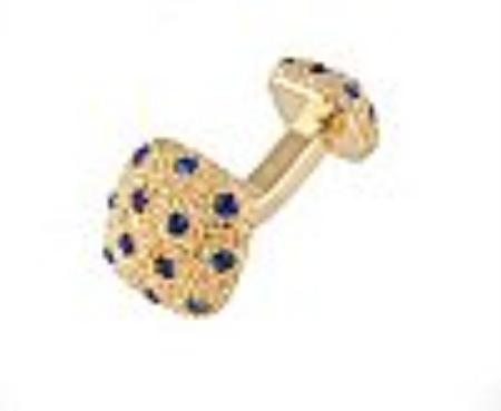 SKU#RQ100 Cufflinks Gold Xk 0030G Blue $39