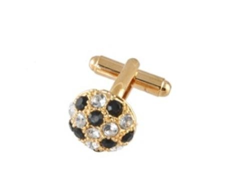 SKU#RV290 Cufflinks Gold Xk 0068G Black&Dia $39