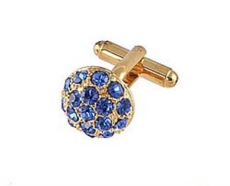 SKU#BU404 Cufflinks Gold Xk 0068G Blue $39