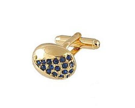 SKU#DI721 Cufflinks Gold Xk 0078G Blue $39