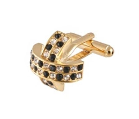 SKU#DU345 Cufflinks Gold Xk 0097G Black&Dia $39