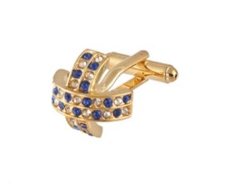SKU#FY291 Cufflinks Gold Xk 0097G Blue&Dia $39