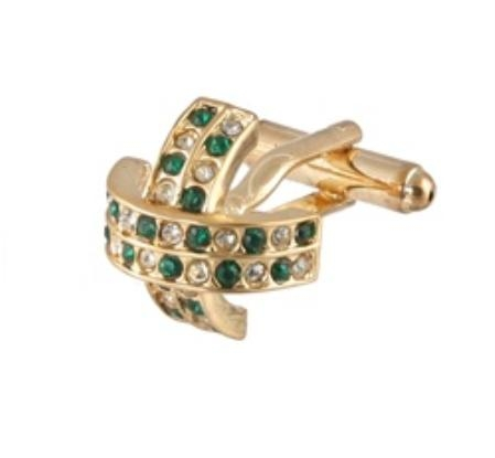 SKU#HI245 Cufflinks Gold Xk 0097G Green&Dia $39