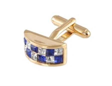 SKU#MM100 Cufflinks Gold Xk 0098G Blue&Dia $39