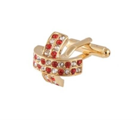 SKU#CT410 Cufflinks Gold Xk 0097G Red&Dia $39
