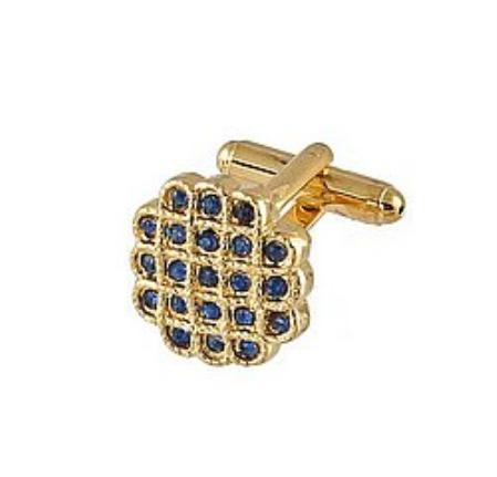 SKU#HB312 Cufflinks Gold Xk 0023G Blue $39
