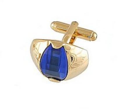 SKU#EN811 Cufflinks Gold Xk 0107G Blue $39