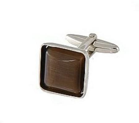 SKU#ER715 Cufflinks Silver My 0024S Brown $39