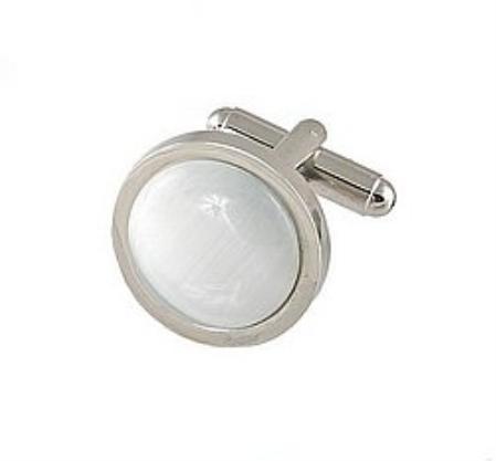 SKU#PK448 Cufflinks Silver My 0025S Pearl $39