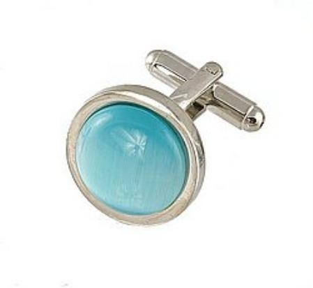 SKU#QS623 Cufflinks Silver My 0025S turquoise ~ Light Blue Colored $39