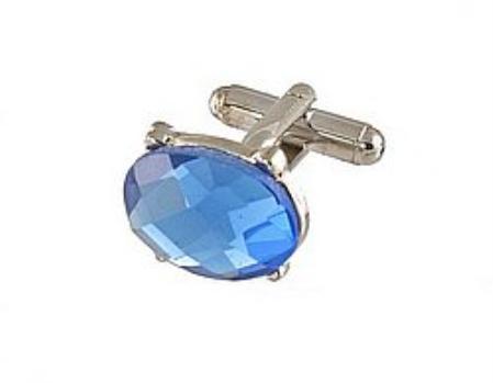 SKU#AX711 Cufflinks Silver Vs 021S R.Blue $39