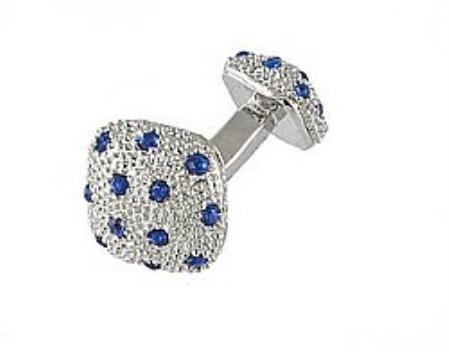 SKU#RC714 Cufflinks Silver Xk 0030S Blue $39