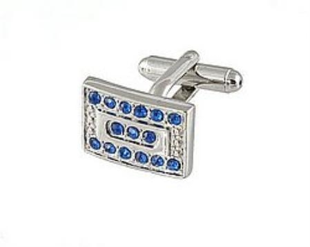 SKU#RS134 Cufflinks Silver Xk 0069S Blue $39