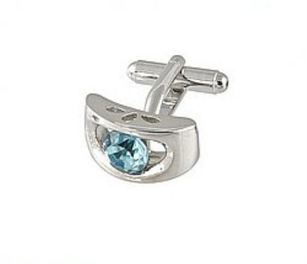 SKU#RP449 Cufflinks Silver Xk 0072S turquoise ~ Light Blue Colored $39