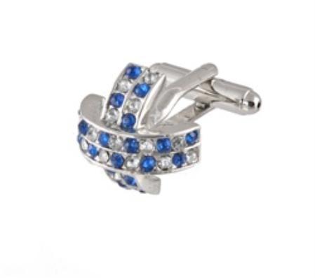 SKU#AP303 Cufflinks Silver Xk 0097S Blue&Dia $39