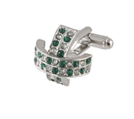 SKU#OL712 Cufflinks Silver Xk 0097S Green&Dia $39