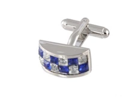 SKU#UG400 Cufflinks Silver Xk 0098S Blue&Dia $39