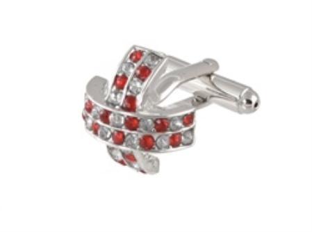 SKU#CF440 Cufflinks Silver Xk 0097S Red&Dia $39