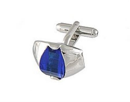 SKU#PD319 Cufflinks Silver Xk 0107S Blue $39