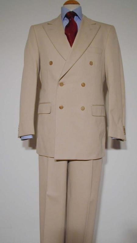 SKU# ZLT-DB Tan ~ Beige Pure Virgin Wool Feel Rayon Viscose Double Breasted Mens Suit